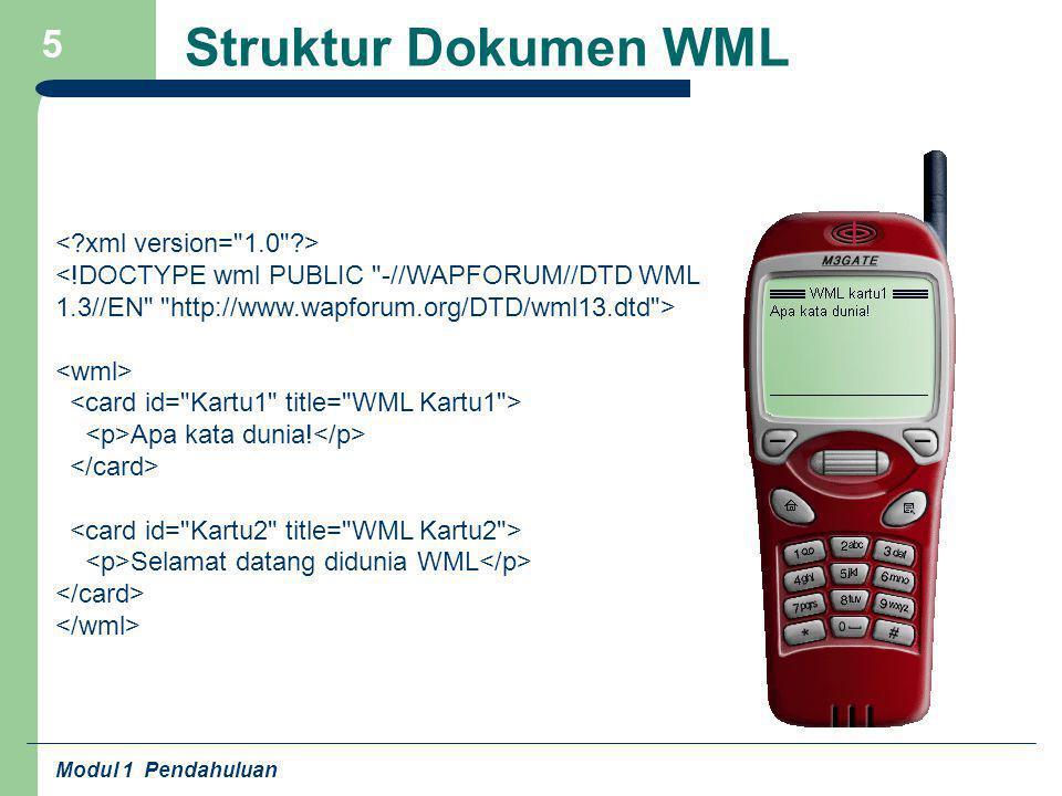 Modul 1 Pendahuluan 5 Struktur Dokumen WML Apa kata dunia! Selamat datang didunia WML