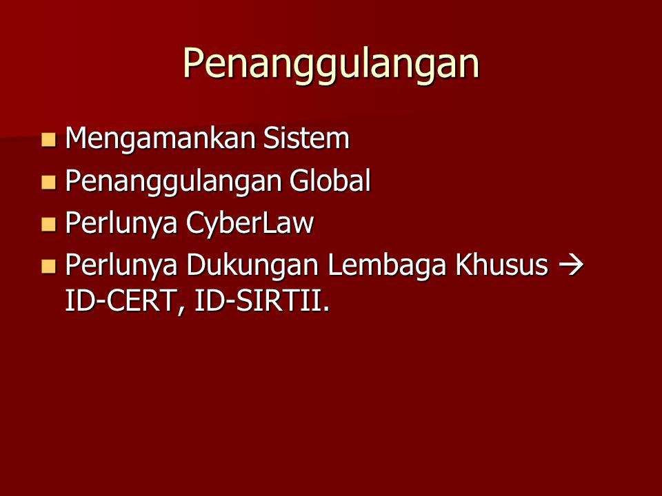 Penanggulangan Mengamankan Sistem Mengamankan Sistem Penanggulangan Global Penanggulangan Global Perlunya CyberLaw Perlunya CyberLaw Perlunya Dukungan