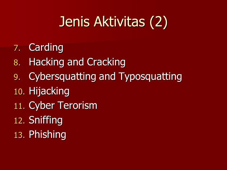 Jenis Aktivitas (2) 7. Carding 8. Hacking and Cracking 9. Cybersquatting and Typosquatting 10. Hijacking 11. Cyber Terorism 12. Sniffing 13. Phishing