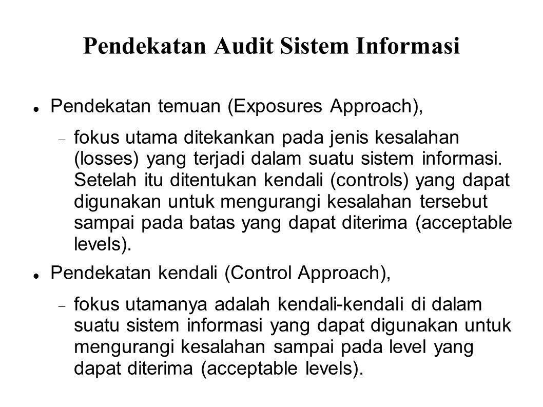 Pendekatan Audit Sistem Informasi Pendekatan temuan (Exposures Approach),  fokus utama ditekankan pada jenis kesalahan (losses) yang terjadi dalam su