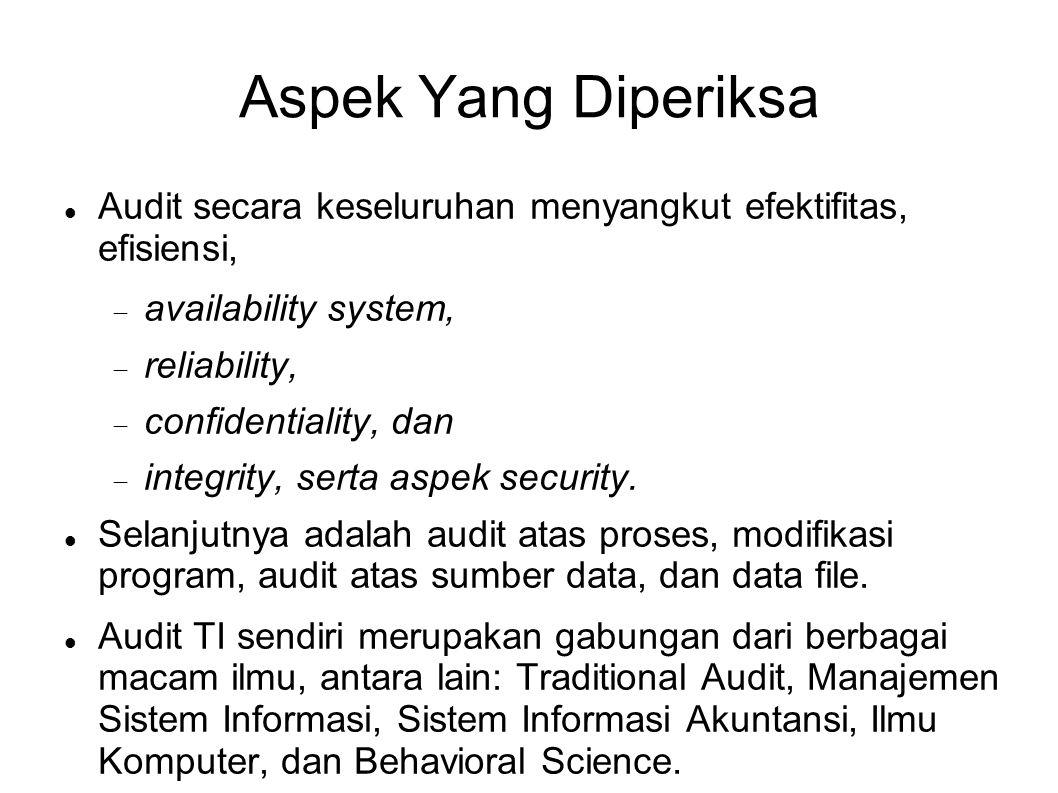 Aspek Yang Diperiksa Audit secara keseluruhan menyangkut efektifitas, efisiensi,  availability system,  reliability,  confidentiality, dan  integr