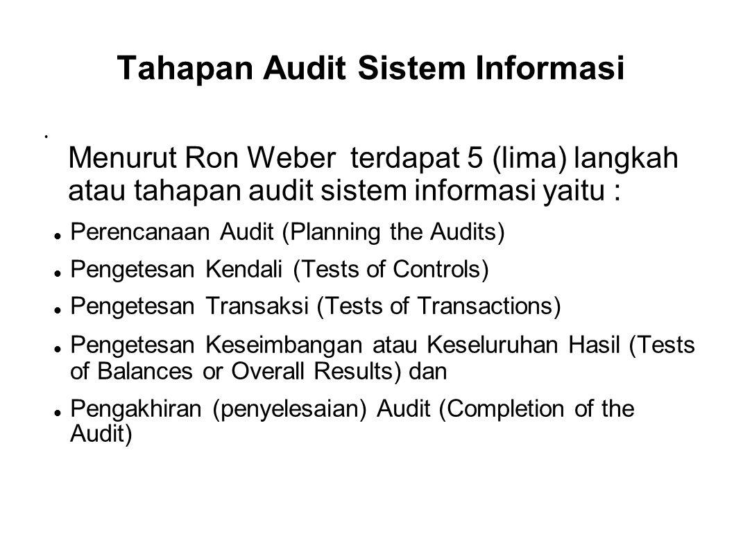 Tahapan Audit Sistem Informasi Menurut Ron Weber terdapat 5 (lima) langkah atau tahapan audit sistem informasi yaitu : Perencanaan Audit (Planning the