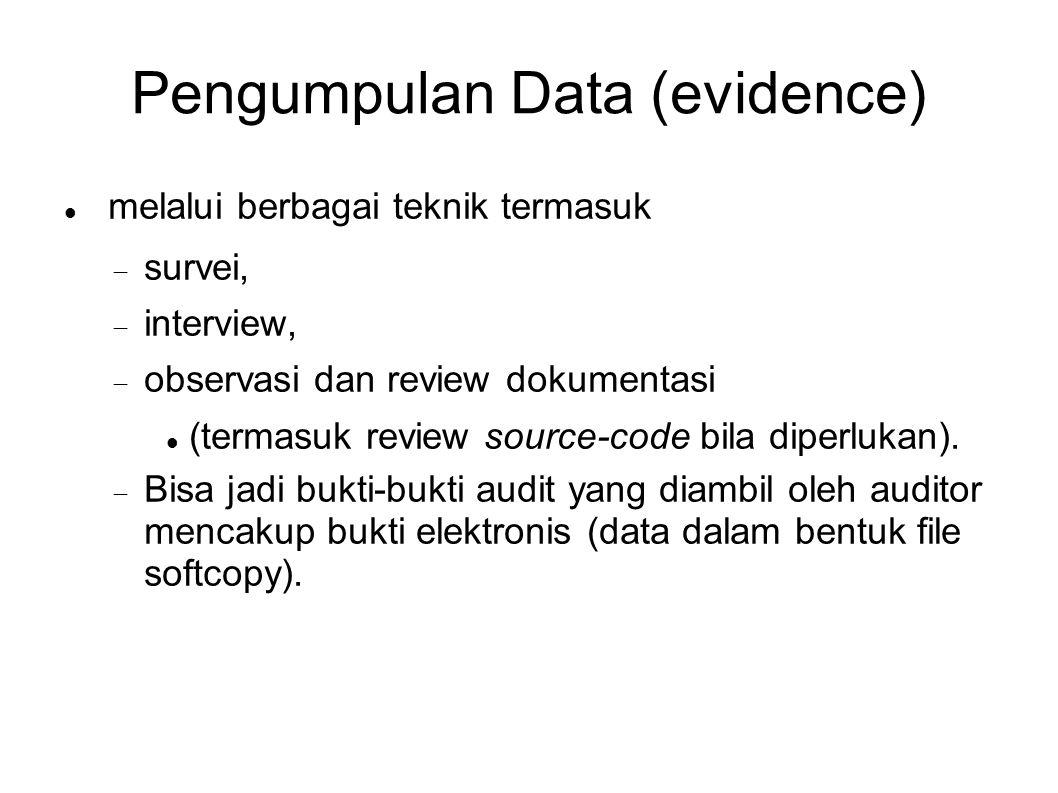 Pengumpulan Data (evidence) melalui berbagai teknik termasuk  survei,  interview,  observasi dan review dokumentasi (termasuk review source-code b