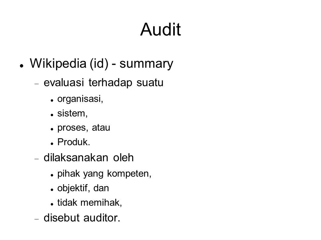 Audit Wikipedia – summary (2) Tujuannya adalah  verifikasi bahwa subjek dari audit telah diselesaikan atau  berjalan sesuai dengan standar, regulasi, dan praktik yang telah disetujui dan diterima.