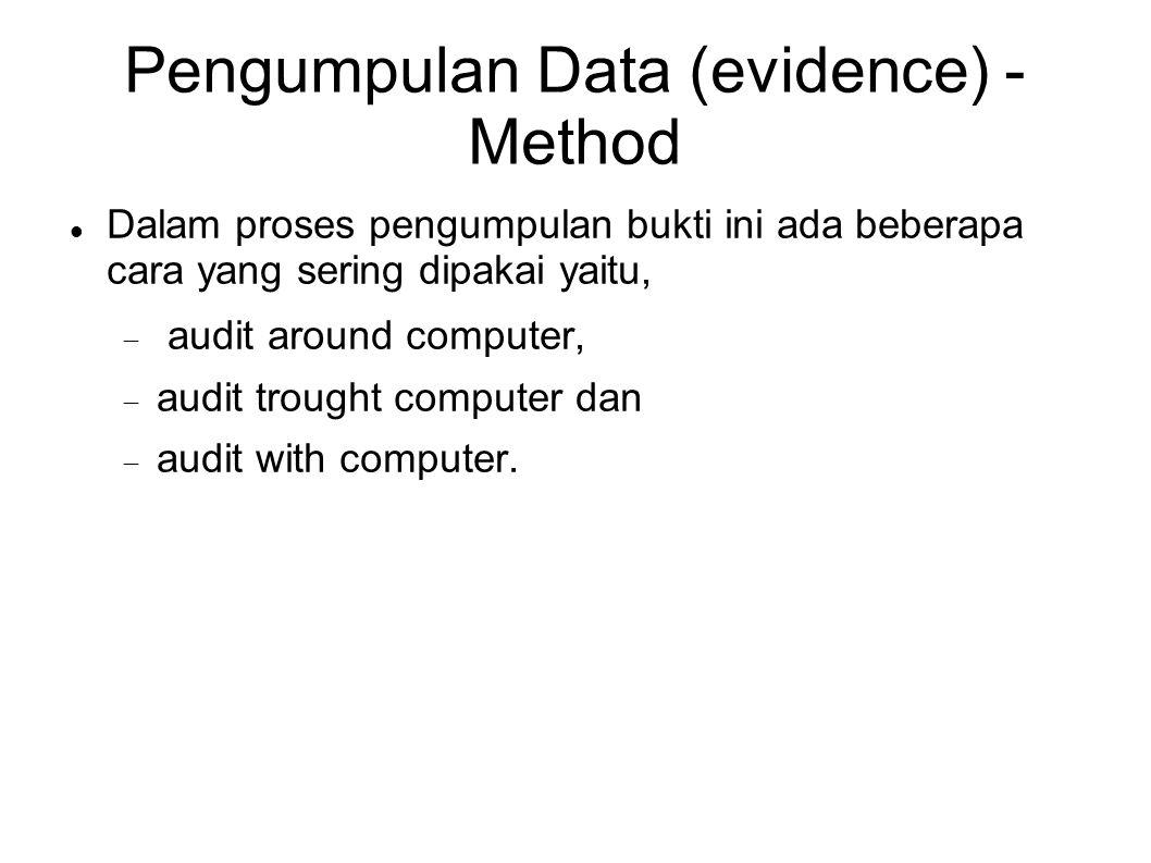 Pengumpulan Data (evidence) - Method Dalam proses pengumpulan bukti ini ada beberapa cara yang sering dipakai yaitu,  audit around computer,  audit