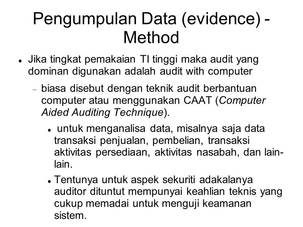 Pengumpulan Data (evidence) - Method Jika tingkat pemakaian TI tinggi maka audit yang dominan digunakan adalah audit with computer  biasa disebut den