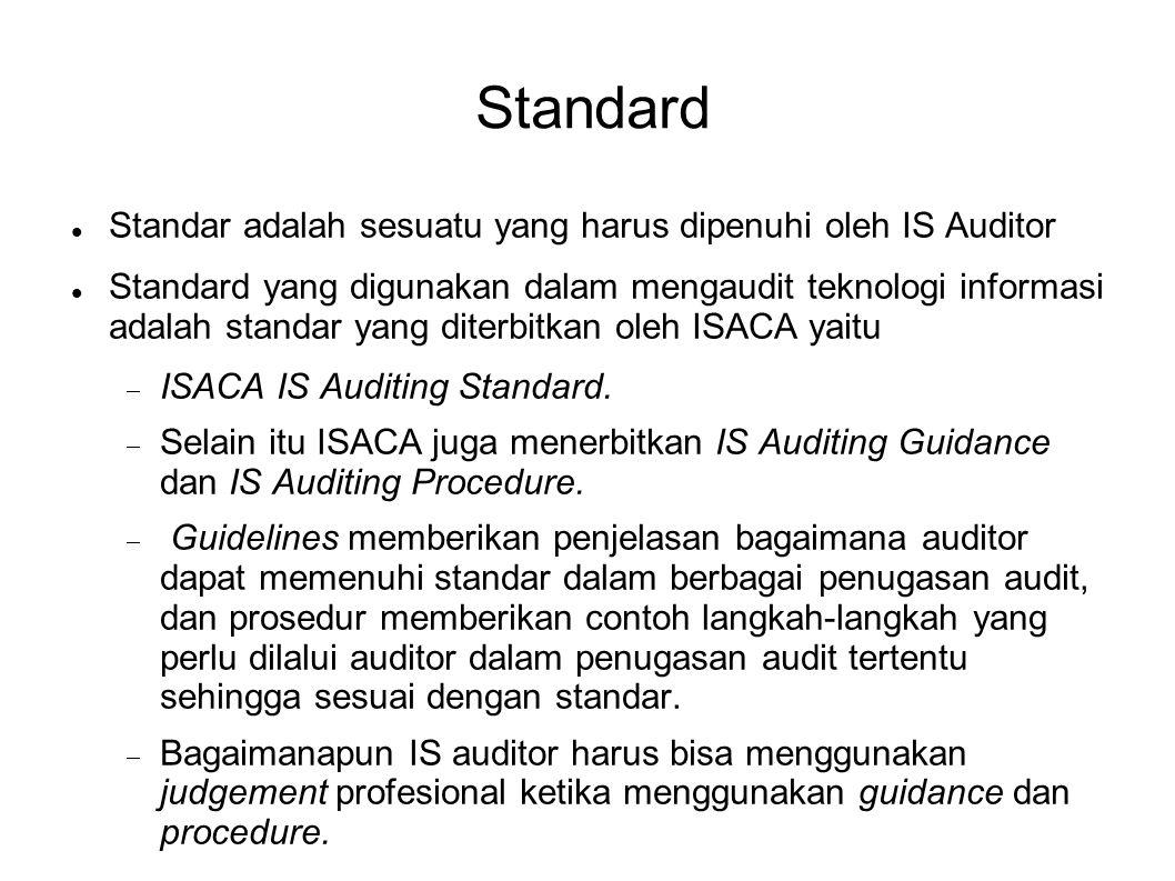 Standard Standar adalah sesuatu yang harus dipenuhi oleh IS Auditor Standard yang digunakan dalam mengaudit teknologi informasi adalah standar yang di