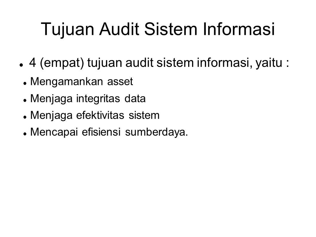 Tujuan Audit Sistem Informasi 4 (empat) tujuan audit sistem informasi, yaitu : Mengamankan asset Menjaga integritas data Menjaga efektivitas sistem Me