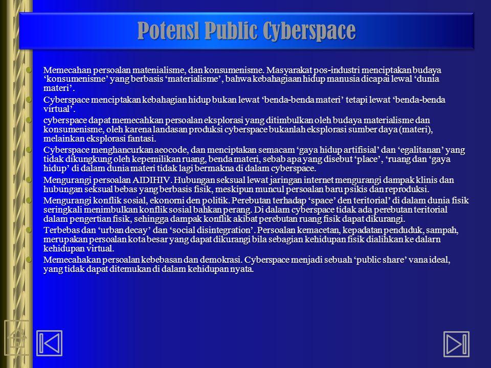 Potensl Public Cyberspace Memecahan persoalan matenialisme, dan konsumenisme. Masyarakat pos-industri menciptakan budaya 'konsumenisme' yang berbasis