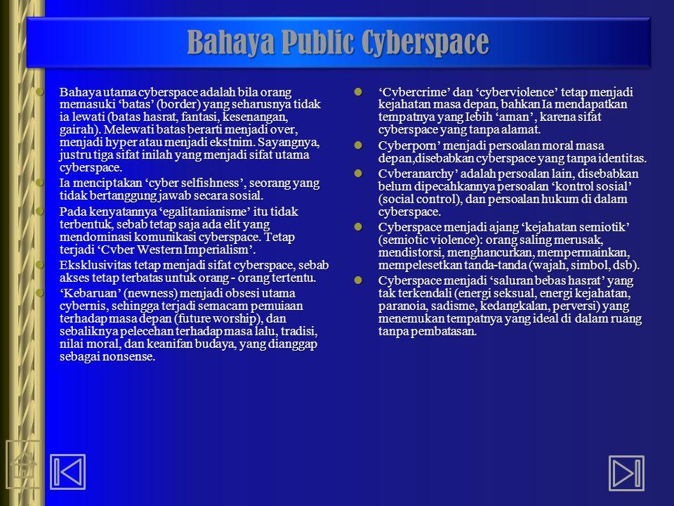 Bahaya Public Cyberspace Bahaya utama cyberspace adalah bila orang memasuki 'batas' (border) yang seharusnya tidak ia lewati (batas hasrat, fantasi, k