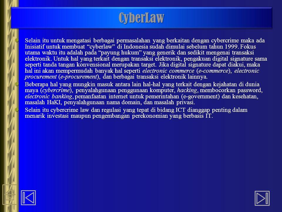 "CyberLawCyberLaw Selain itu untuk mengatasi berbagai permasalahan yang berkaitan dengan cybercrime maka ada Inisiatif untuk membuat ""cyberlaw"" di Indo"