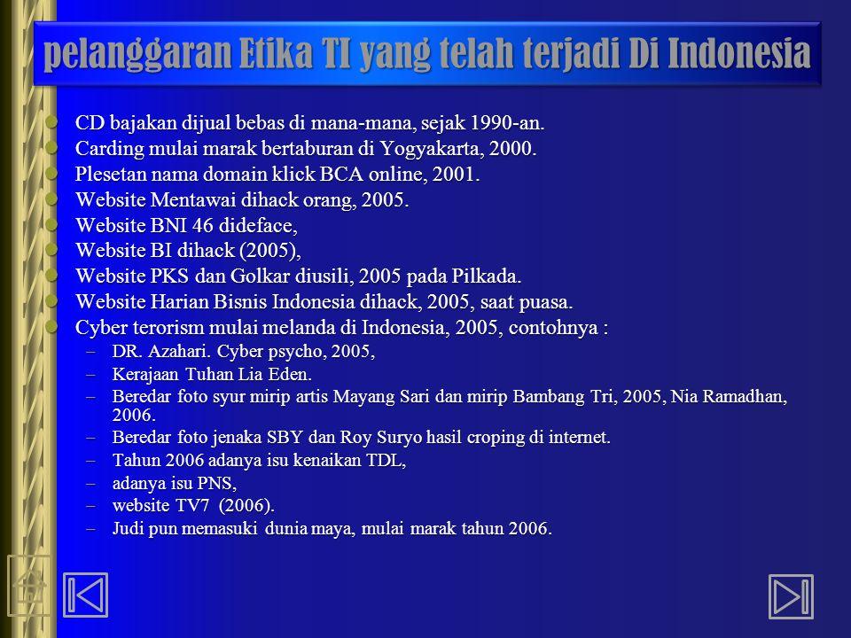 pelanggaran Etika TI yang telah terjadi Di Indonesia CD bajakan dijual bebas di mana-mana, sejak 1990-an. CD bajakan dijual bebas di mana-mana, sejak