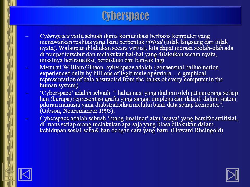 CyberspaceCyberspace –Cyberspace yaitu sebuah dunia komunikasi berbasis komputer yang menawarkan realitas yang baru berbentuk virtual (tidak langsung