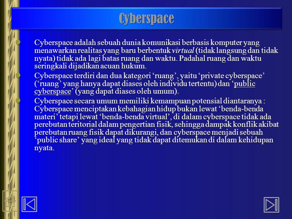 CyberspaceCyberspace Cyberspace adalah sebuah dunia komunikasi berbasis komputer yang menawarkan realitas yang baru berbentuk virtual (tidak langsung