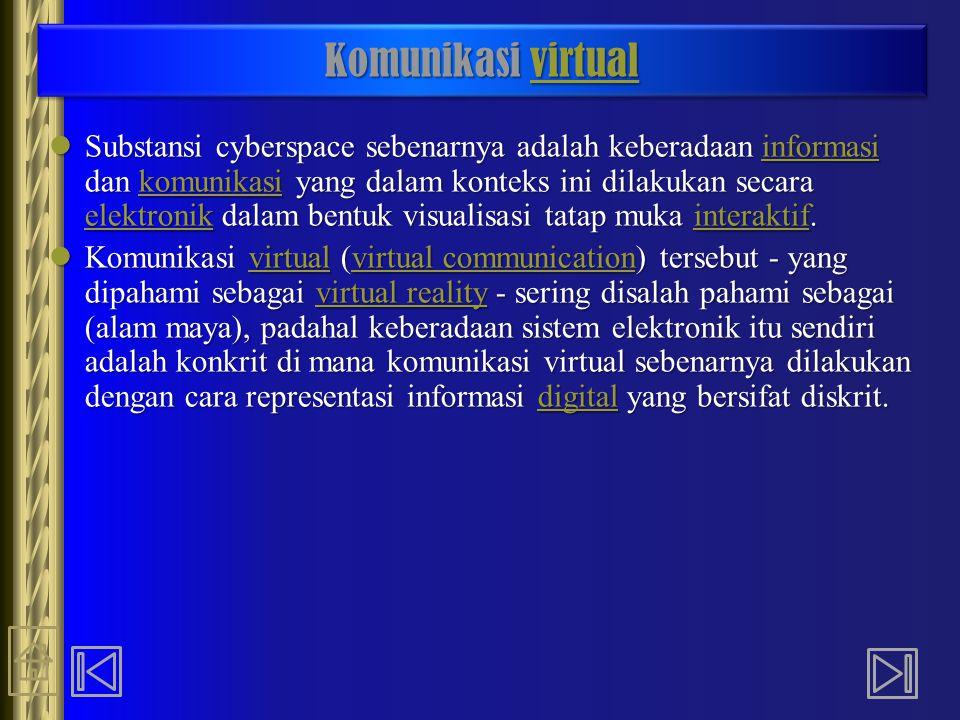 Komunikasi virtual virtual Komunikasi virtual virtual Substansi cyberspace sebenarnya adalah keberadaan informasi dan komunikasi yang dalam konteks in