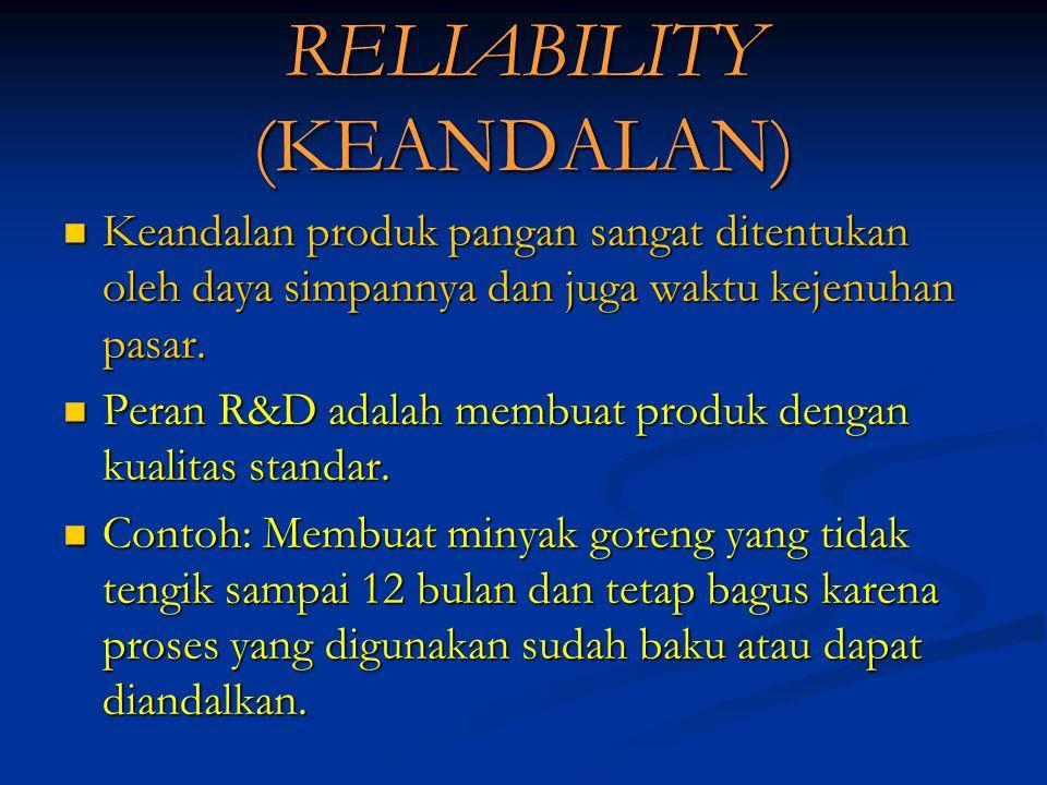 RELIABILITY (KEANDALAN) Keandalan produk pangan sangat ditentukan oleh daya simpannya dan juga waktu kejenuhan pasar.