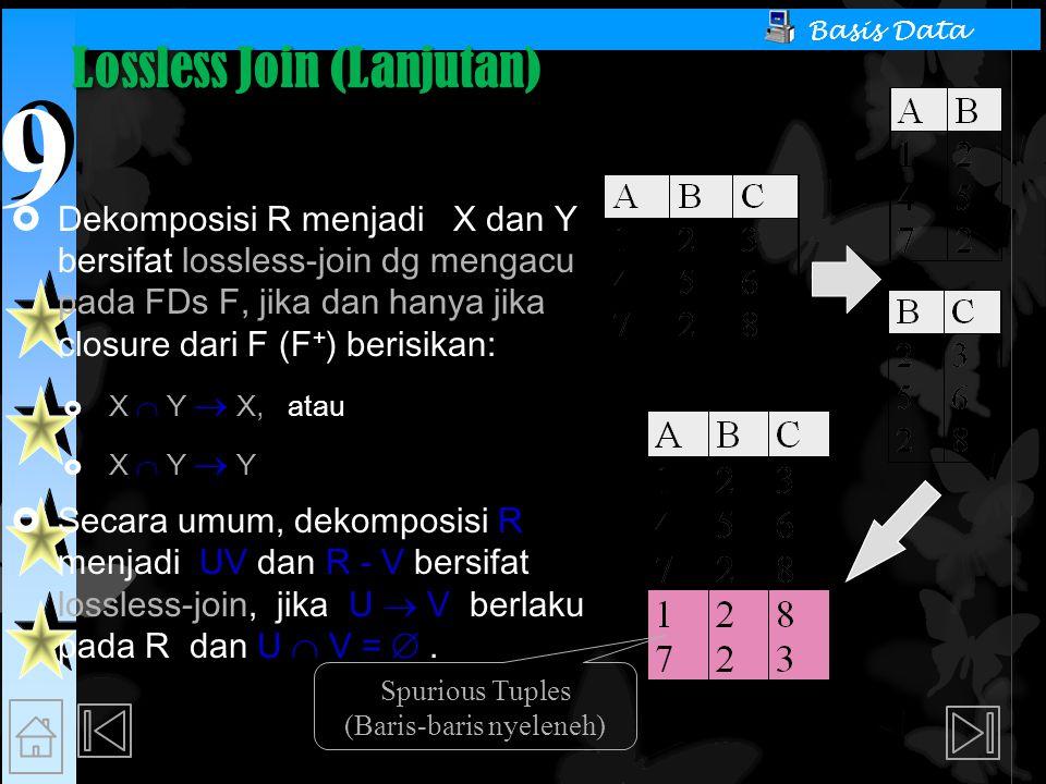 9 9 Basis Data Lossless Join (Lanjutan)  Dekomposisi R menjadi X dan Y bersifat lossless-join dg mengacu pada FDs F, jika dan hanya jika closure dari F (F + ) berisikan:  X  Y  X, atau  X  Y  Y  Secara umum, dekomposisi R menjadi UV dan R - V bersifat lossless-join, jika U  V berlaku pada R dan U  V = .