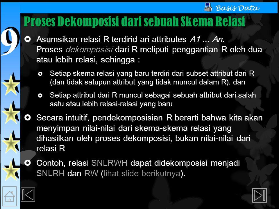 9 9 Basis Data Proses Dekomposisi dari sebuah Skema Relasi  Asumsikan relasi R terdirid ari attributes A1...