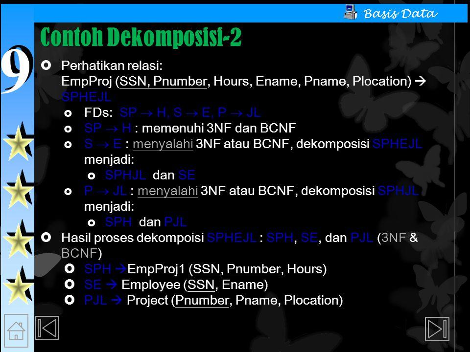 9 9 Basis Data Contoh Dekomposisi-2  Perhatikan relasi: EmpProj (SSN, Pnumber, Hours, Ename, Pname, Plocation)  SPHEJL  FDs: SP  H, S  E, P  JL  SP  H : memenuhi 3NF dan BCNF  S  E : menyalahi 3NF atau BCNF, dekomposisi SPHEJL menjadi:  SPHJL dan SE  P  JL : menyalahi 3NF atau BCNF, dekomposisi SPHJL menjadi:  SPH dan PJL  Hasil proses dekompoisi SPHEJL : SPH, SE, dan PJL (3NF & BCNF)  SPH  EmpProj1 (SSN, Pnumber, Hours)  SE  Employee (SSN, Ename)  PJL  Project (Pnumber, Pname, Plocation)