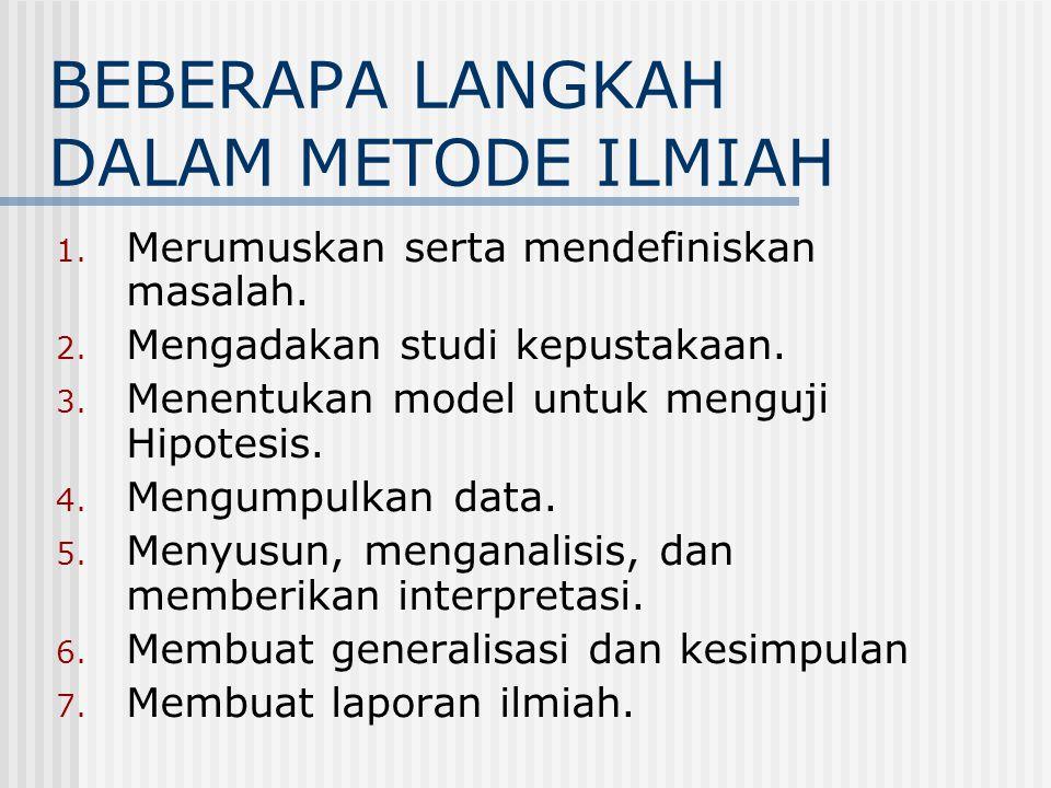 BEBERAPA LANGKAH DALAM METODE ILMIAH 1. Merumuskan serta mendefiniskan masalah. 2. Mengadakan studi kepustakaan. 3. Menentukan model untuk menguji Hip