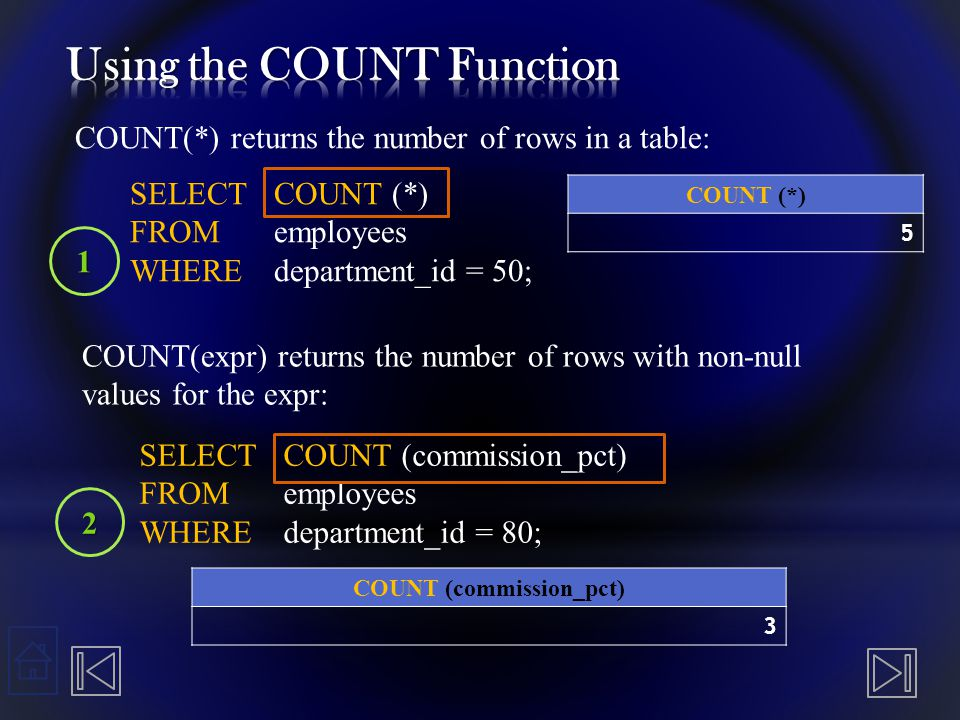 Using the DISTINCT Keyword  COUNT(DISTINCT expr) returns the number of distinct non- null values of the expr.