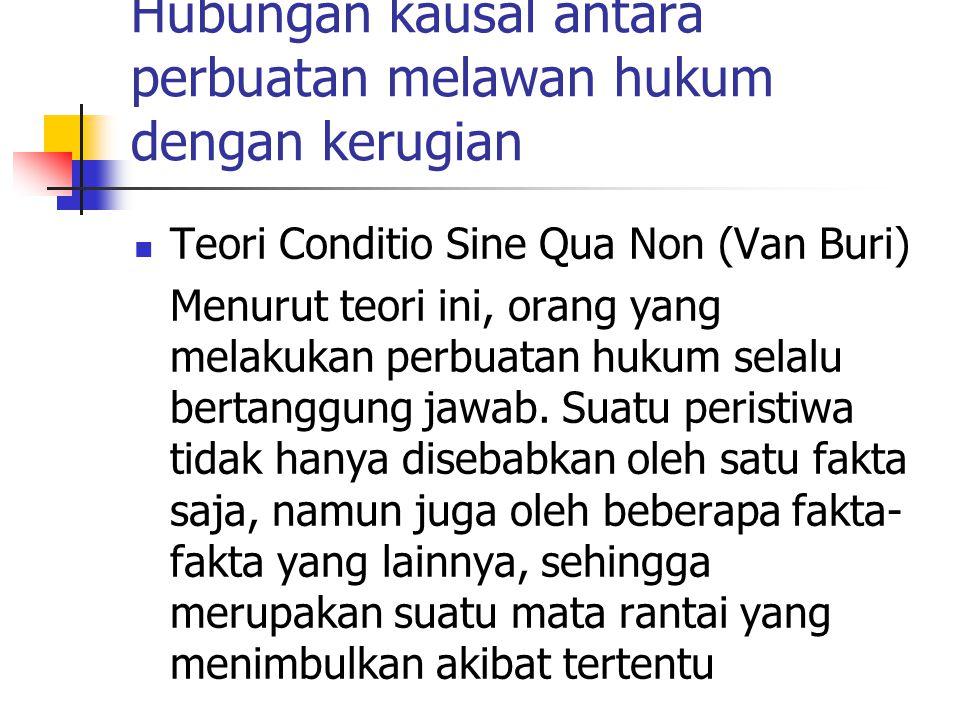 Hubungan kausal antara perbuatan melawan hukum dengan kerugian Teori Conditio Sine Qua Non (Van Buri) Menurut teori ini, orang yang melakukan perbuata