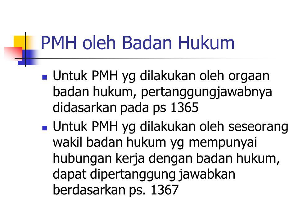 PMH oleh Badan Hukum Untuk PMH yg dilakukan oleh orgaan badan hukum, pertanggungjawabnya didasarkan pada ps 1365 Untuk PMH yg dilakukan oleh seseorang