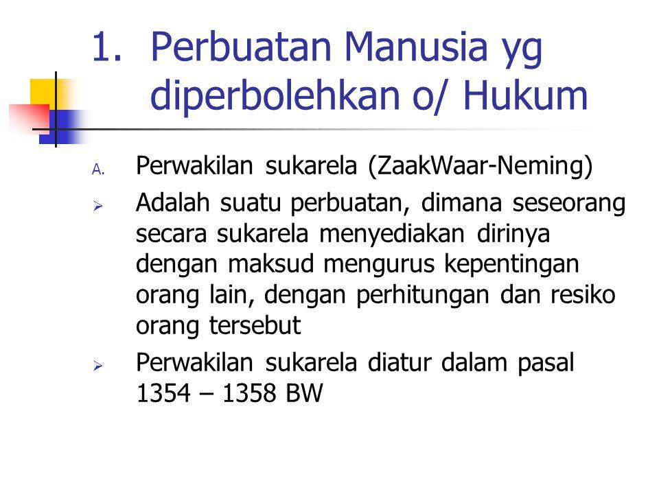 1.Perbuatan Manusia yg diperbolehkan o/ Hukum A. Perwakilan sukarela (ZaakWaar-Neming)  Adalah suatu perbuatan, dimana seseorang secara sukarela meny