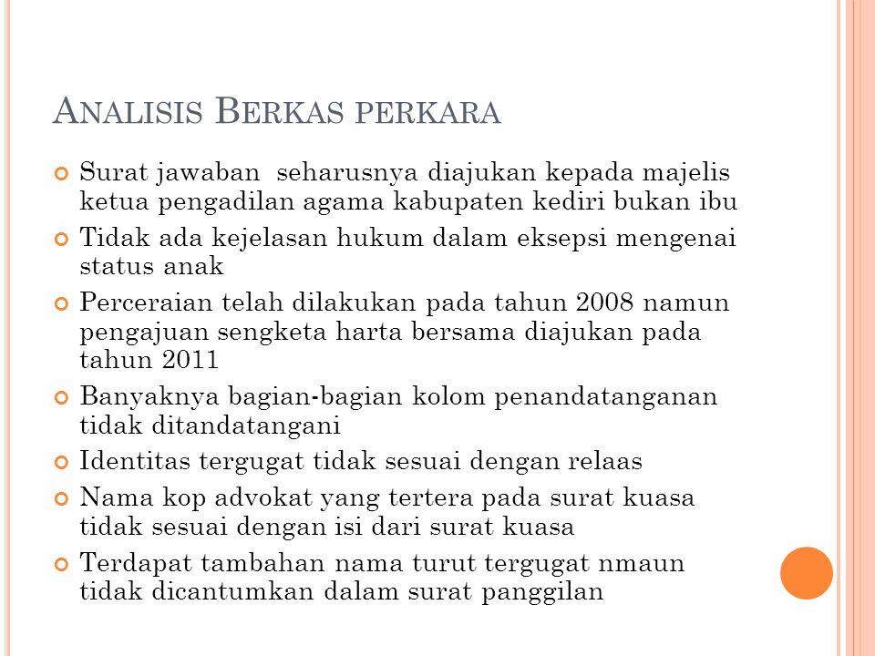 A NALISIS B ERKAS PERKARA Surat jawaban seharusnya diajukan kepada majelis ketua pengadilan agama kabupaten kediri bukan ibu Tidak ada kejelasan hukum