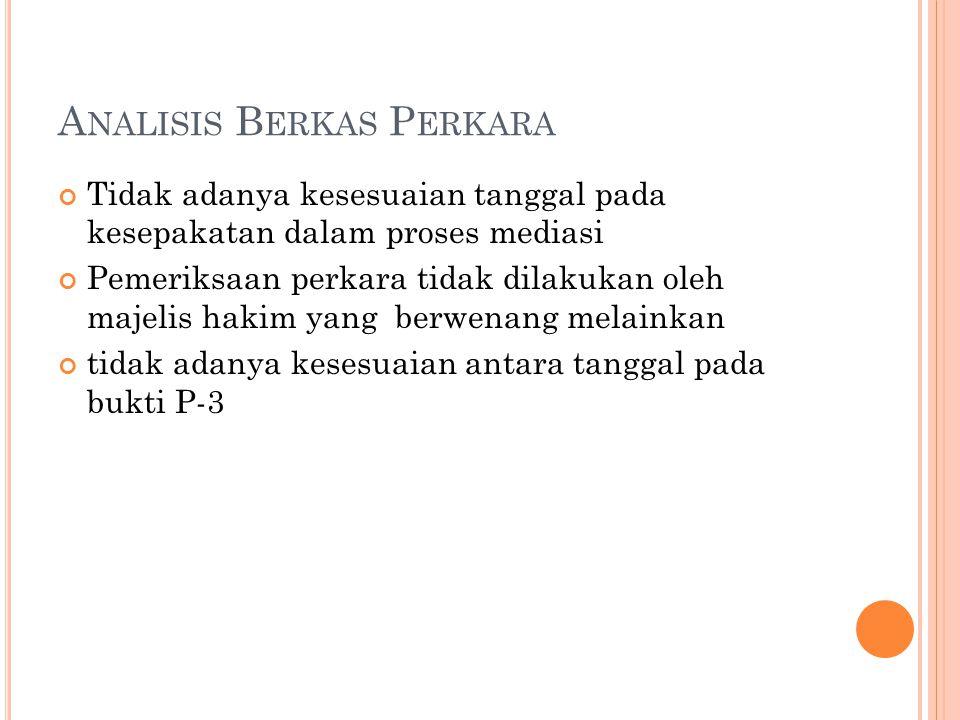 A NALISIS B ERKAS P ERKARA Tidak adanya kesesuaian tanggal pada kesepakatan dalam proses mediasi Pemeriksaan perkara tidak dilakukan oleh majelis haki