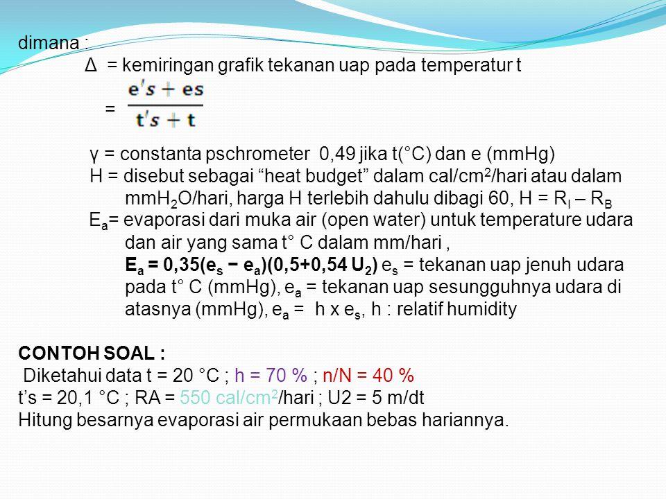 ANGIN DARAT dimana : Δ = kemiringan grafik tekanan uap pada temperatur t = γ = constanta pschrometer 0,49 jika t(°C) dan e (mmHg) H = disebut sebagai heat budget dalam cal/cm 2 /hari atau dalam mmH 2 O/hari, harga H terlebih dahulu dibagi 60, H = R I – R B E a = evaporasi dari muka air (open water) untuk temperature udara dan air yang sama t° C dalam mm/hari, E a = 0,35(e s − e a )(0,5+0,54 U 2 ) e s = tekanan uap jenuh udara pada t° C (mmHg), e a = tekanan uap sesungguhnya udara di atasnya (mmHg), e a = h x e s, h : relatif humidity CONTOH SOAL : Diketahui data t = 20 °C ; h = 70 % ; n/N = 40 % t's = 20,1 °C ; RA = 550 cal/cm 2 /hari ; U2 = 5 m/dt Hitung besarnya evaporasi air permukaan bebas hariannya.