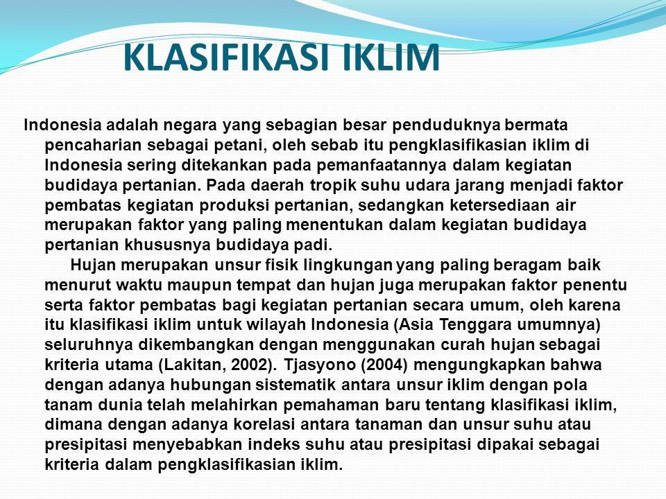 KLASIFIKASI IKLIM Indonesia adalah negara yang sebagian besar penduduknya bermata pencaharian sebagai petani, oleh sebab itu pengklasifikasian iklim d