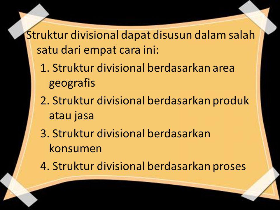 Struktur divisional dapat disusun dalam salah satu dari empat cara ini: 1. Struktur divisional berdasarkan area geografis 2. Struktur divisional berda