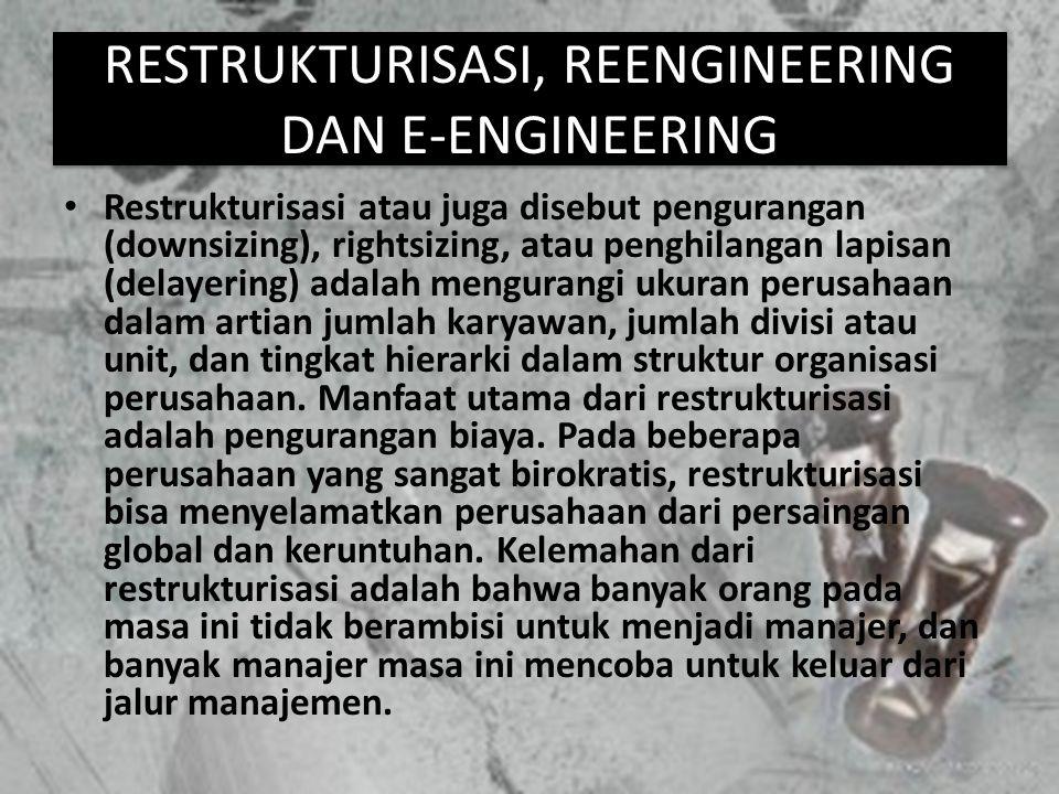 RESTRUKTURISASI, REENGINEERING DAN E-ENGINEERING Restrukturisasi atau juga disebut pengurangan (downsizing), rightsizing, atau penghilangan lapisan (d