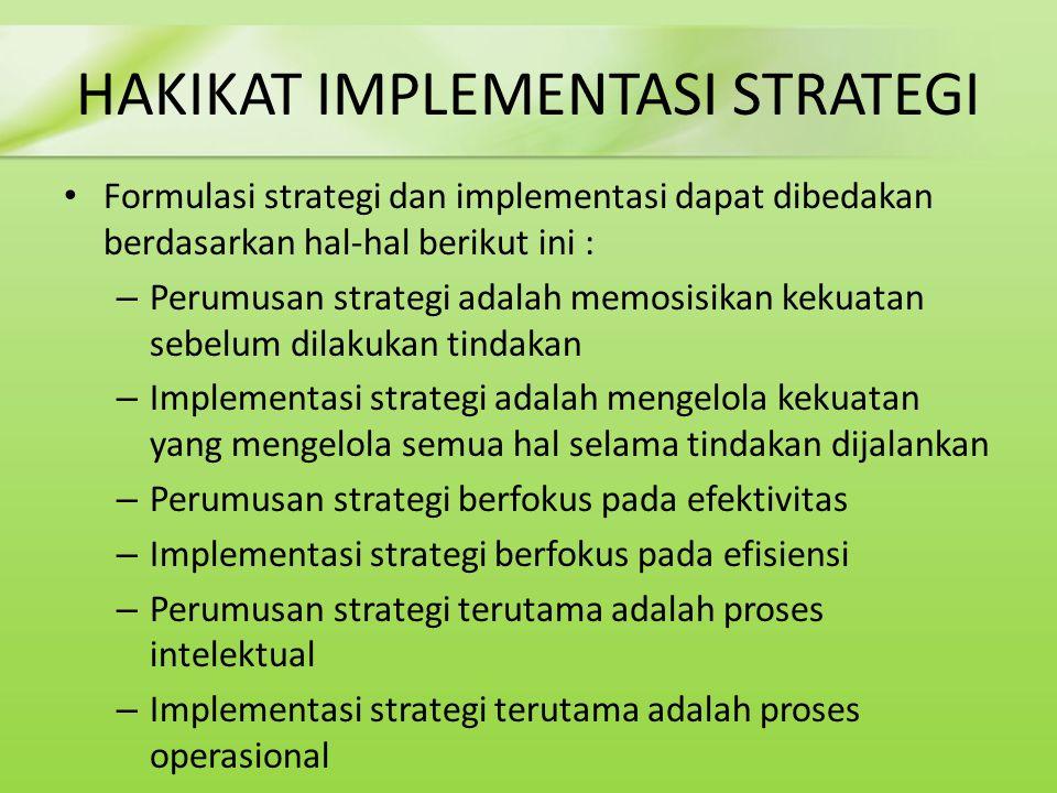 HAKIKAT IMPLEMENTASI STRATEGI Formulasi strategi dan implementasi dapat dibedakan berdasarkan hal-hal berikut ini : – Perumusan strategi adalah memosi