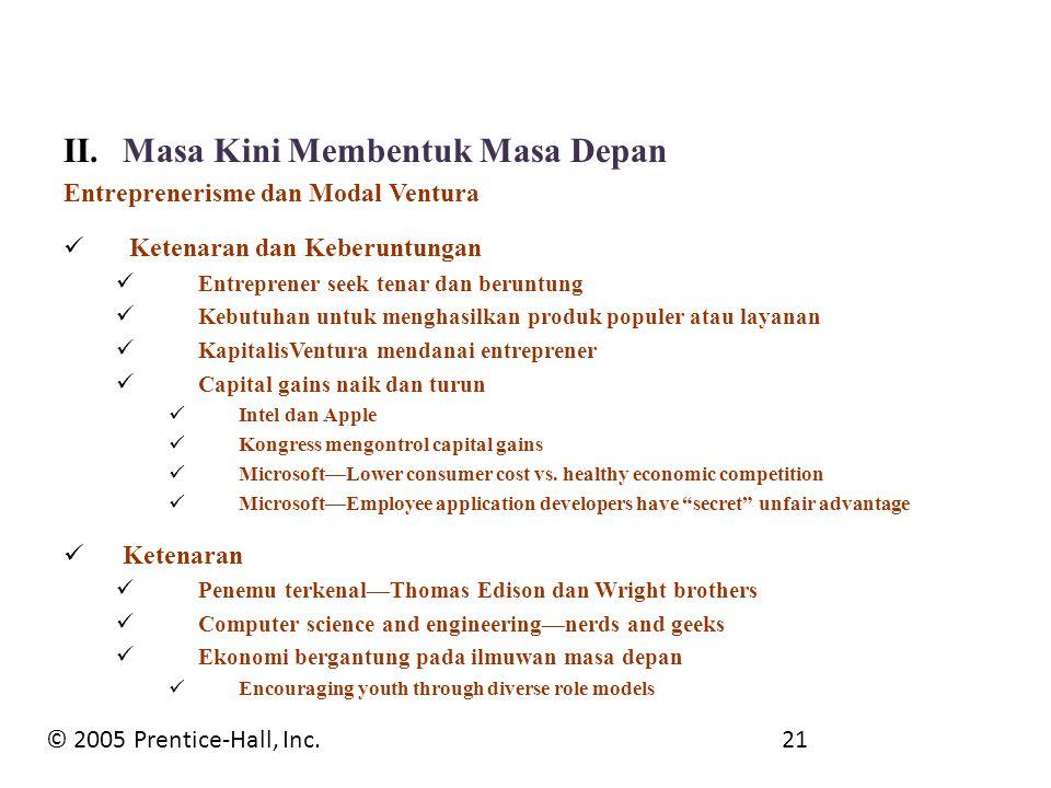 II.Masa Kini Membentuk Masa Depan Entreprenerisme dan Modal Ventura Ketenaran dan Keberuntungan Entreprener seek tenar dan beruntung Kebutuhan untuk m