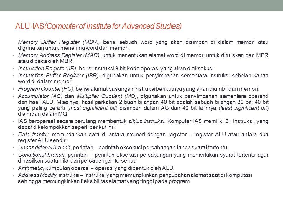 ALU-IAS(Computer of Institute for Advanced Studies) Memory Buffer Register (MBR), berisi sebuah word yang akan disimpan di dalam memori atau digunakan