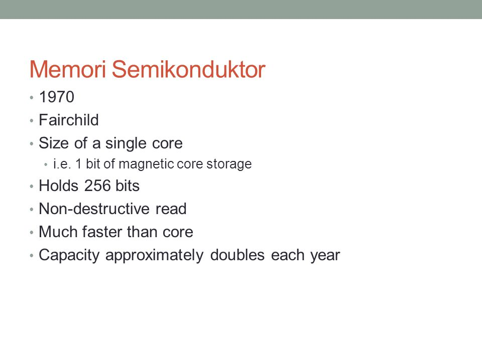 Memori Semikonduktor 1970 Fairchild Size of a single core i.e.