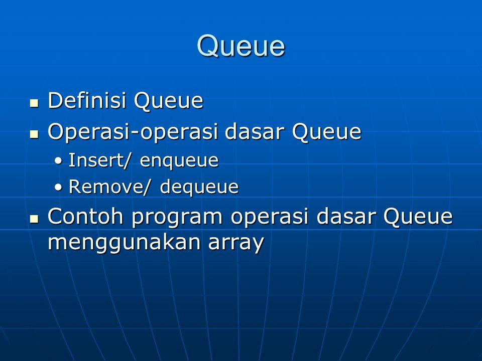 Queue Definisi Queue Definisi Queue Operasi-operasi dasar Queue Operasi-operasi dasar Queue Insert/ enqueueInsert/ enqueue Remove/ dequeueRemove/ dequ