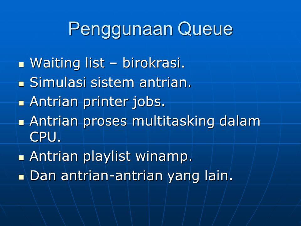 Penggunaan Queue Waiting list – birokrasi. Waiting list – birokrasi. Simulasi sistem antrian. Simulasi sistem antrian. Antrian printer jobs. Antrian p