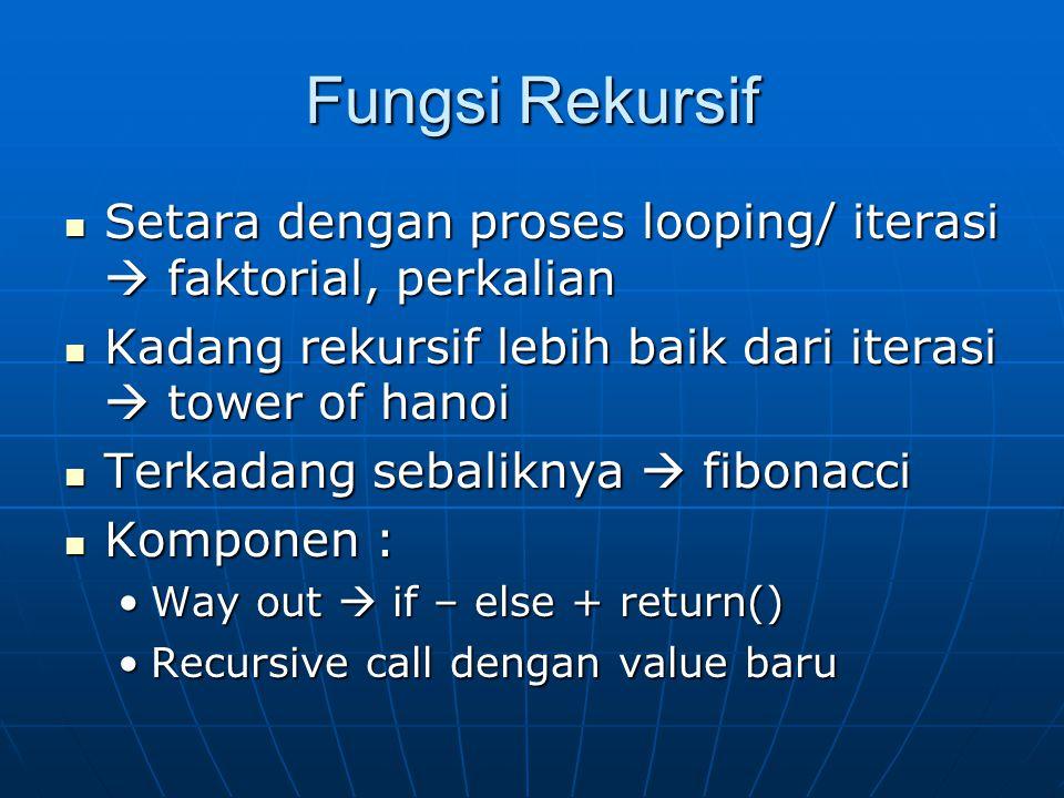Fungsi Rekursif Setara dengan proses looping/ iterasi  faktorial, perkalian Setara dengan proses looping/ iterasi  faktorial, perkalian Kadang rekur