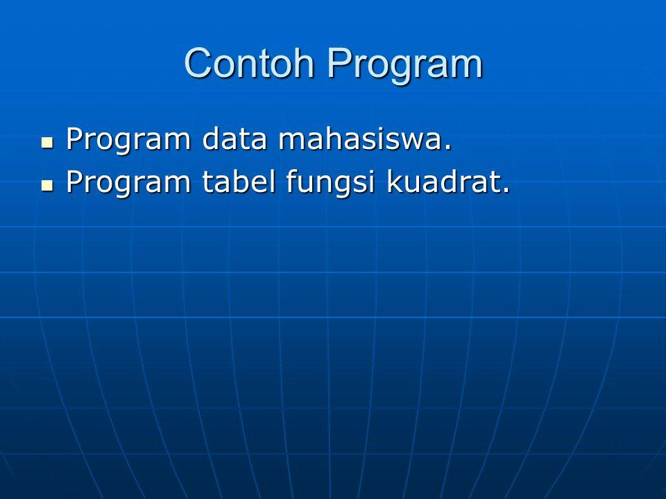 Contoh Program Program data mahasiswa. Program data mahasiswa. Program tabel fungsi kuadrat. Program tabel fungsi kuadrat.