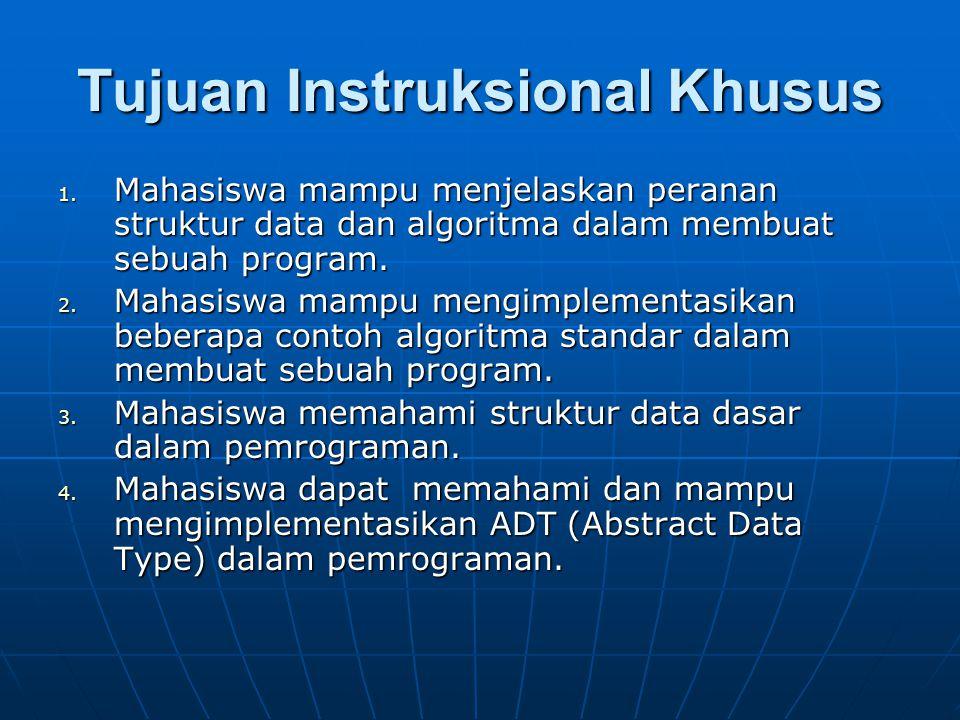 Tujuan Instruksional Khusus 1. Mahasiswa mampu menjelaskan peranan struktur data dan algoritma dalam membuat sebuah program. 2. Mahasiswa mampu mengim