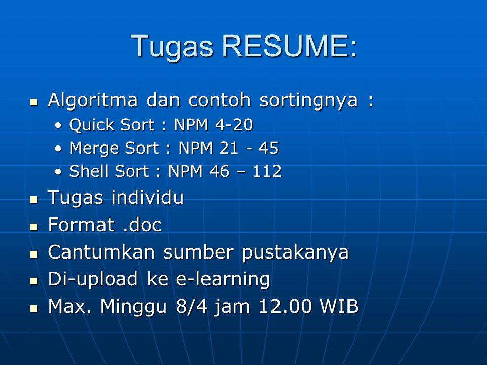 Tugas RESUME: Algoritma dan contoh sortingnya : Algoritma dan contoh sortingnya : Quick Sort : NPM 4-20Quick Sort : NPM 4-20 Merge Sort : NPM 21 - 45M