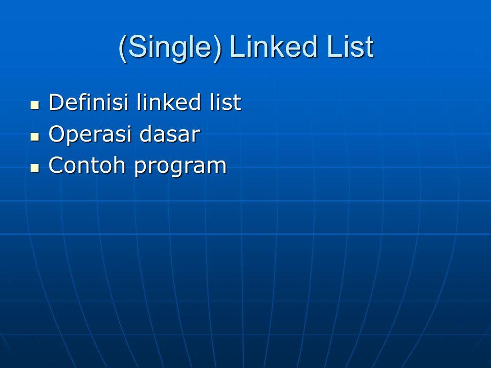 (Single) Linked List Definisi linked list Definisi linked list Operasi dasar Operasi dasar Contoh program Contoh program