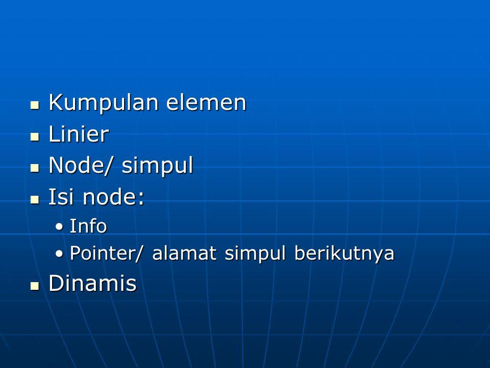 Kumpulan elemen Kumpulan elemen Linier Linier Node/ simpul Node/ simpul Isi node: Isi node: InfoInfo Pointer/ alamat simpul berikutnyaPointer/ alamat