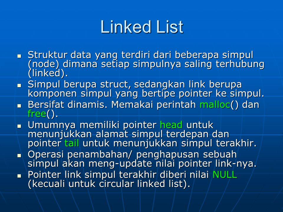 Linked List Struktur data yang terdiri dari beberapa simpul (node) dimana setiap simpulnya saling terhubung (linked). Struktur data yang terdiri dari