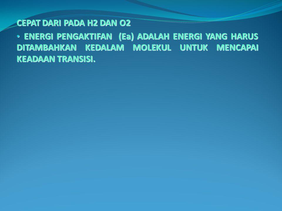 CEPAT DARI PADA H2 DAN O2 ENERGI PENGAKTIFAN (Ea) ADALAH ENERGI YANG HARUS DITAMBAHKAN KEDALAM MOLEKUL UNTUK MENCAPAI KEADAAN TRANSISI. ENERGI PENGAKT