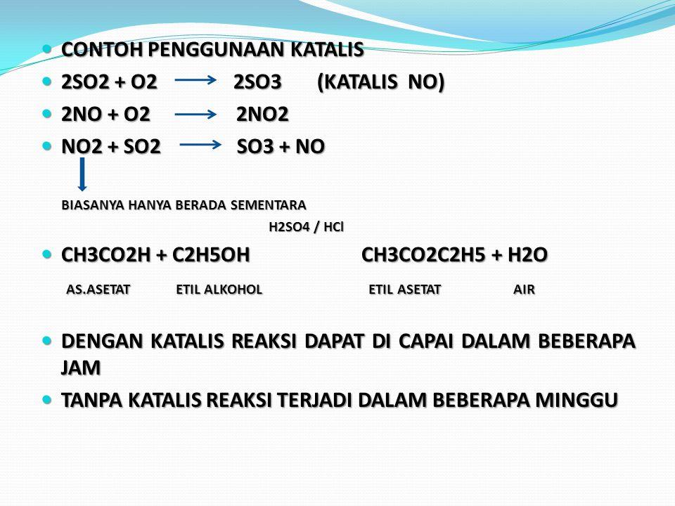 CONTOH PENGGUNAAN KATALIS CONTOH PENGGUNAAN KATALIS 2SO2 + O2 2SO3 (KATALIS NO) 2SO2 + O2 2SO3 (KATALIS NO) 2NO + O2 2NO2 2NO + O2 2NO2 NO2 + SO2 SO3