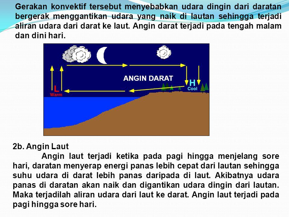 Gerakan konvektif tersebut menyebabkan udara dingin dari daratan bergerak menggantikan udara yang naik di lautan sehingga terjadi aliran udara dari da